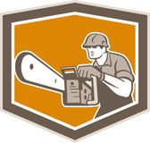 Arborist Lumberjack Operating Chainsaw Shield Stock Images
