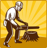 Arborist tree surgeon chainsaw retro Stock Photography