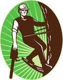 Arborist tree surgeon chainsaw retro Royalty Free Stock Photography