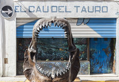 Arbos,Catalonia,Spain. Big teeth of a shark in front museum El Cau del Tauro, only museum in Europe dedicated to the world of shark, Arbos, province Tarragona Stock Images