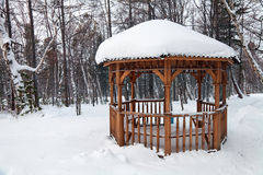 Arbour. Wooden arbor among the trees in winter park Royalty Free Stock Images