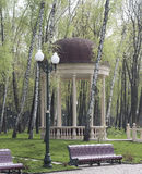 Arbour among the birch trees, benches and lanterns. In the park in spring Stock Photography