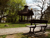Arbour park. The historic wooden arbour in the park planted by Karol Scheibler next to the factory Stock Photography