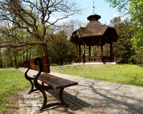 Arbour park. The historic wooden arbour in the park planted by Karol Scheibler next to the factory Stock Images
