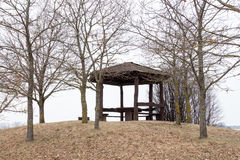 Arbour in the spring or winter time. Arbour on the hill in the spring or winter time Royalty Free Stock Photos
