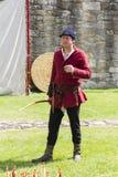 arboured Medeltida skärm Warkworth Northumberland england UK fotografering för bildbyråer