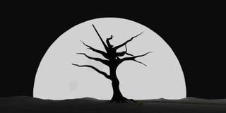 Arbre éclairé par la lune de Halloween Photographie stock