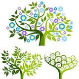 Arbre abstrait avec des fleurs - positionnement illustration libre de droits