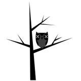 Arbre abstrait avec le hibou stylisé Photos libres de droits