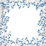 Arbre abstrait de fond de nature avec les fleurs bleues illustration libre de droits