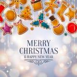 Arbre abstrait de Noël fait à partir des biscuits de pain d'épice Fond avec des lumières de bokeh Vecteur Photo stock