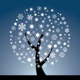 Arbre abstrait des flocons de neige Image stock