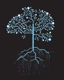 Arbre abstrait, graphique virtuel bleu futuriste de vecteur de concept Image libre de droits