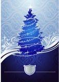 arbre argenté de Noël bleu Illustration de Vecteur