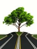 Arbre au milieu de route illustration libre de droits