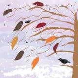 Arbre avec des oiseaux et des chutes de neige sur le fond de coucher du soleil Photographie stock libre de droits