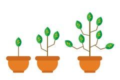 Arbre avec l'argent Style plat Illustration de Vecteur