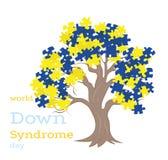 Arbre avec la couleur syndrome de Down de puzzles Jour de trisomie 21 du monde illustration stock