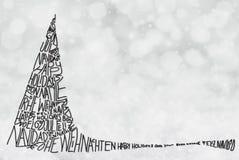 Arbre avec le Joyeux Noël dans diverses langues, Gray Background léger illustration de vecteur