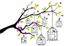 Arbre avec les cages à oiseaux ouvertes, vecteur illustration stock