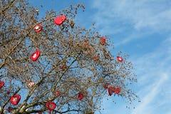 arbre avec les coeurs rouges Photo libre de droits