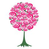 Arbre avec les fleurs rouges Illustration Libre de Droits