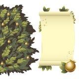 Arbre avec les pommes et le défilement d'or illustration de vecteur