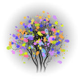Arbre avec les taches colorées illustration stock