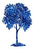 Arbre bleu de châtaigne avec des flocons de neige de Noël Photographie stock libre de droits