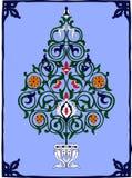 Arbre bleu de tuile de fleur de fleur arabe de tuile photo stock