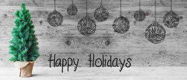 Arbre, boule, calligraphie bonnes fêtes, Gray Wooden Background photos libres de droits