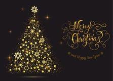 Arbre brillant de nouvelle année d'or avec marquer avec des lettres le Joyeux Noël Images libres de droits