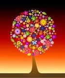Arbre coloré avec des fleurs illustration libre de droits