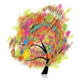 Arbre coloré d'art, retrait de croquis de crayon Photographie stock libre de droits