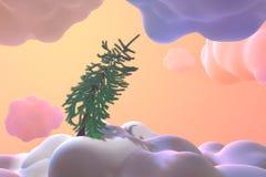 Arbre conifére de Noël de carte de nouvelle année au-dessus des nuages et des congères abstraits de Toon Illustration conceptuell illustration de vecteur