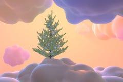 Arbre conifére de Noël de carte de nouvelle année couvert par la neige au-dessus des nuages et des congères abstraits de Toon Art illustration libre de droits