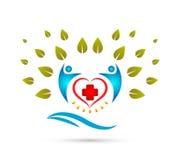 Arbre créatif de Team People Family avec la vague d'eau, logo heureux de concept de personnes de signe médical ensemble illustration libre de droits