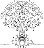 Arbre d'amour avec le hibou Photo stock