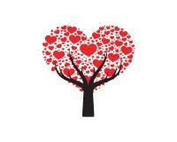 Arbre d'amour avec le vecteur de feuilles de coeur illustration libre de droits