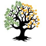 Arbre d'argent avec des pièces de monnaie Photos libres de droits