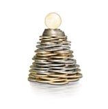 Arbre d'argent avec des pièces de monnaie Image libre de droits