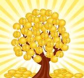 Arbre d'argent avec des pièces de monnaie. Image libre de droits