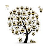 Arbre d'art avec des abeilles de famille, croquis pour votre conception Image stock