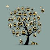 Arbre d'art avec des abeilles de famille, croquis pour votre conception Photographie stock
