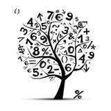 Arbre d'art avec des symboles de maths pour votre conception Image stock