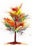 Arbre d'automne d'aquarelle Photos libres de droits