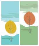 Arbre d'automne. Paysage de bande dessinée de vecteur Photos libres de droits