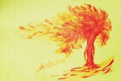 Arbre d'automne sur un fond de texture jaune Humeur d'automne, ensoleillée Photo d'un arbre d'automne Art Abstraction Copiez l'es Illustration de Vecteur