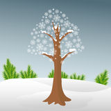 Arbre d'hiver dans la neige Photos libres de droits