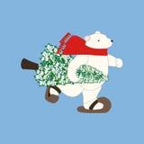 Arbre d'ours blanc et de Noël illustration de vecteur